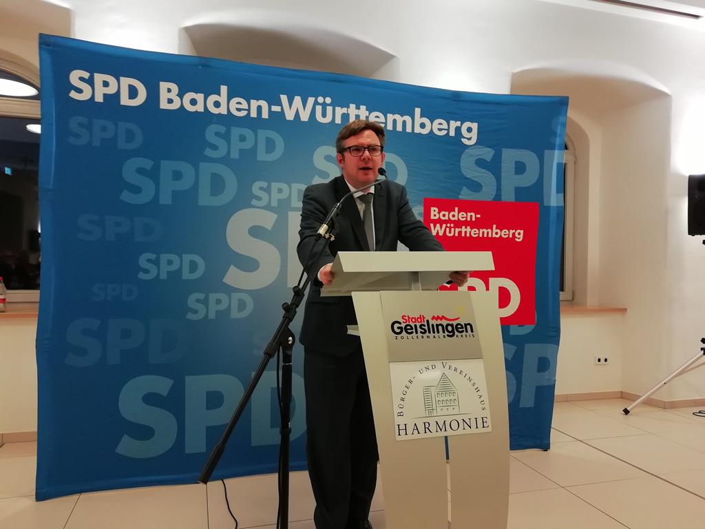 Martin Rosemann MdB spricht beim Neujahrempfang 2019 der SPD Zollernalb